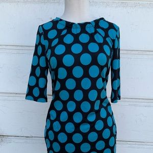 BCBG Polka-Dotted Teal & Black Dress Size Small